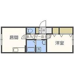 北海道札幌市北区麻生町1丁目の賃貸アパートの間取り