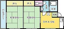 才穂アパート[202号室]の間取り