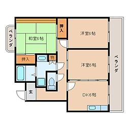 静岡県静岡市駿河区小鹿3丁目の賃貸マンションの間取り