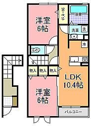 茨城県水戸市酒門町の賃貸アパートの間取り
