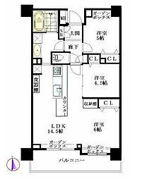 西武新宿線 下落合駅 徒歩2分の賃貸マンション 6階2LDKの間取り