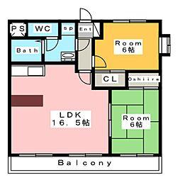 ボヌールM[4階]の間取り