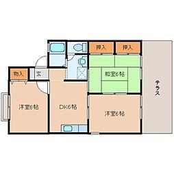 奈良県磯城郡田原本町小室の賃貸アパートの間取り
