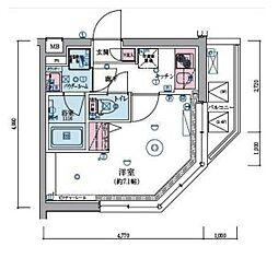 JR山手線 恵比寿駅 徒歩9分の賃貸マンション 4階1Kの間取り
