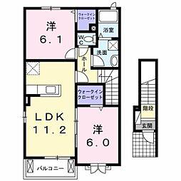 JR鹿児島本線 熊本駅 バス34分 大窪下車 徒歩6分の賃貸アパート 2階2LDKの間取り
