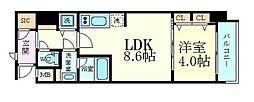 スプランディッド淀屋橋DUE 4階1LDKの間取り