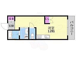 ライフデザイン江戸堀 9階ワンルームの間取り