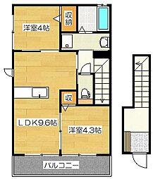サンライズ吉松III[2階]の間取り