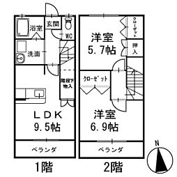 メゾン・ド・アンジュ 1階 メゾネット[105号室]の間取り
