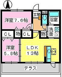 JR鹿児島本線 福工大前駅 徒歩6分の賃貸マンション 1階2LDKの間取り