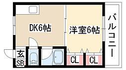 愛知県名古屋市緑区鳴海町字清水寺の賃貸アパートの間取り