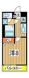 リブリ・ジェンティーレ 1階1Kの間取り