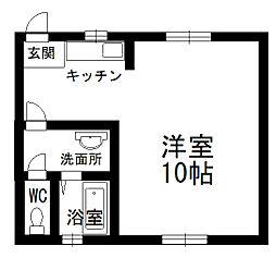 北秋田市綴子 カメリア館 1階1DKの間取り