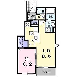 香川県さぬき市長尾東(アパート) 1階1LDKの間取り