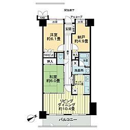 徳島県徳島市昭和町6丁目の賃貸マンションの間取り