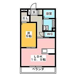 愛知県岡崎市鴨田町字所屋敷の賃貸アパートの間取り
