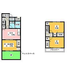 [テラスハウス] 愛知県稲沢市平和町下起中 の賃貸【/】の間取り