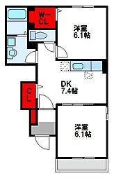 ベルポスト B棟[1階]の間取り