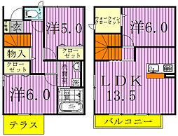 [タウンハウス] 千葉県松戸市三ケ月 の賃貸【/】の間取り
