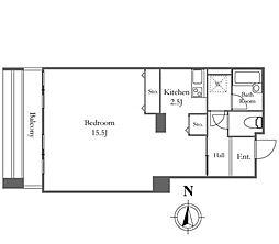 リバーシティ21イーストタワーズ10棟 12階ワンルームの間取り
