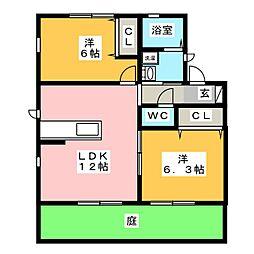 プランタン上島[1階]の間取り