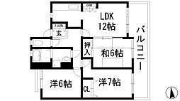 旭丘あけぼのマンション[1階]の間取り