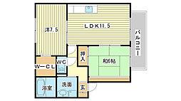 兵庫県姫路市広畑区西蒲田の賃貸アパートの間取り