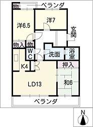 グランデ亀の井[2階]の間取り
