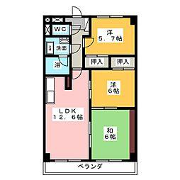 プレミール三郷[4階]の間取り