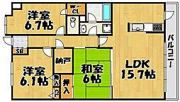 レジオン川西多田 404号室[404号室]の間取り