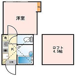 JR京浜東北・根岸線 川崎駅 バス15分 浅田三丁目下車 徒歩2分の賃貸アパート 1階1Kの間取り