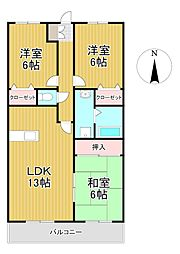 レジデンス高屋敷[4階]の間取り