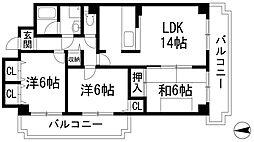 ロイヤルシャトー門戸[2階]の間取り