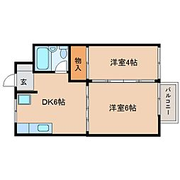 静岡県静岡市清水区横砂中町の賃貸アパートの間取り