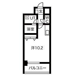 名古屋市営桜通線 野並駅 徒歩2分の賃貸マンション 4階1Kの間取り