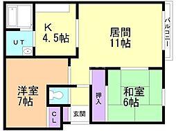 一棟ニ戸(1−11)/平賀邸 3階2LDKの間取り