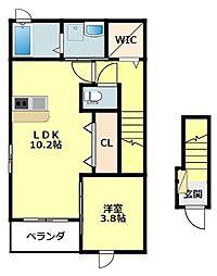 名鉄西尾線 桜町前駅 徒歩5分の賃貸アパート 2階1LDKの間取り