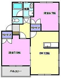茨城県守谷市ひがし野1丁目の賃貸アパートの間取り