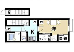 奈良県大和郡山市今国府町の賃貸アパートの間取り