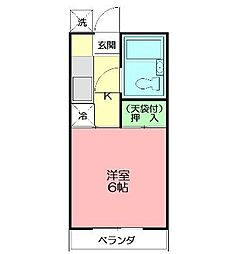 コーポ安岡[203号室]の間取り