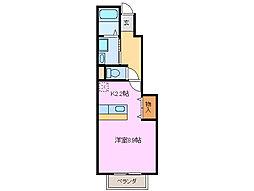 三重県鈴鹿市道伯2丁目の賃貸アパートの間取り
