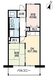 URシャレール東豊中 12階2DKの間取り