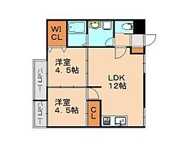 仮)志免中央新築マンション 2階2LDKの間取り