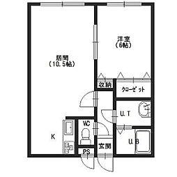 北海道函館市湯浜町の賃貸マンションの間取り