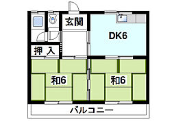 木田ハイツ[1階]の間取り