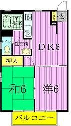 千葉県松戸市八ケ崎3の賃貸アパートの間取り
