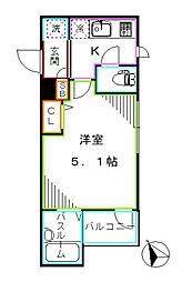 都営大江戸線 新江古田駅 徒歩9分の賃貸マンション 3階1Kの間取り