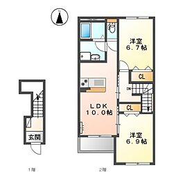 レガーロ三木[2階]の間取り