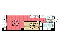 JR総武線 新検見川駅 徒歩1分の賃貸マンション 6階1LDKの間取り