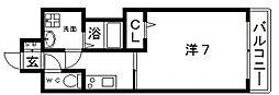 JR大阪環状線 寺田町駅 徒歩4分の賃貸マンション 4階1Kの間取り